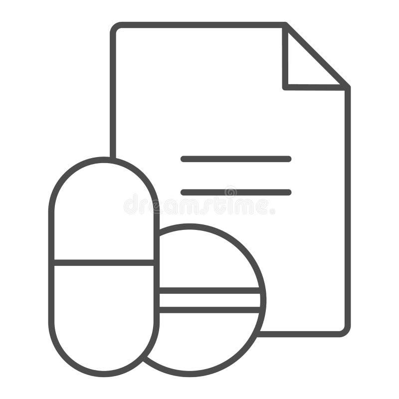 Línea fina icono de la receta de las drogas Ejemplo del vector de la receta de las píldoras aislado en blanco Diseño del estilo d ilustración del vector