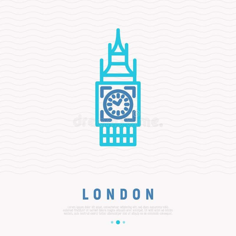 Línea fina icono de la señal de Londres ilustración del vector