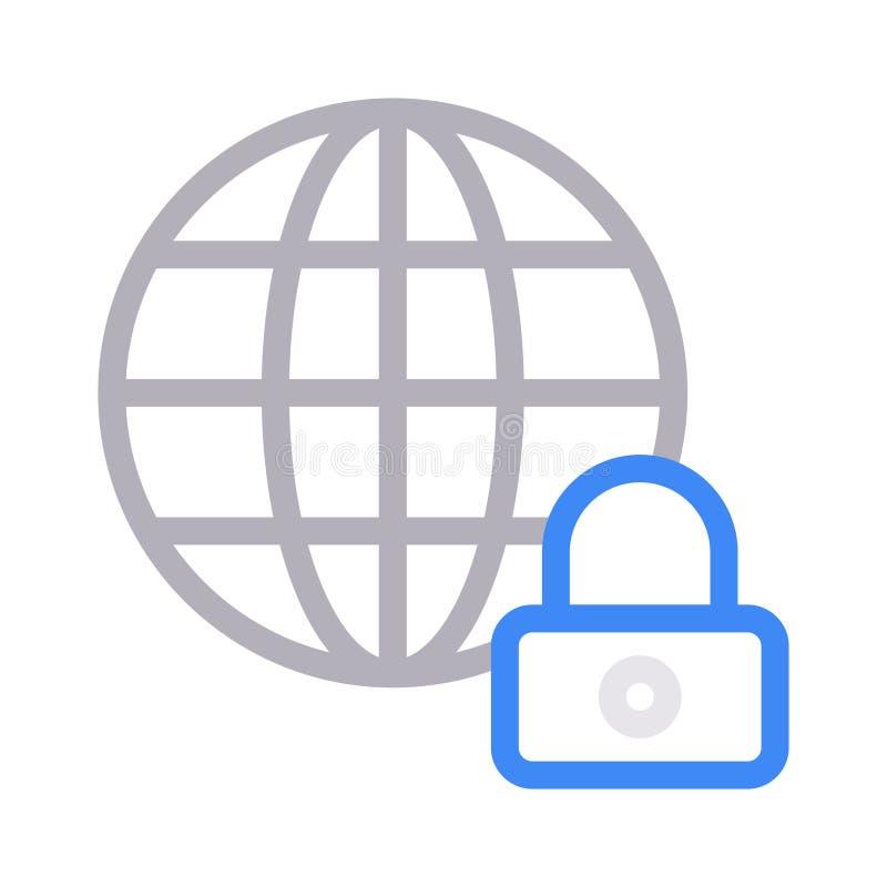 Línea fina icono de la seguridad global del vector del color stock de ilustración