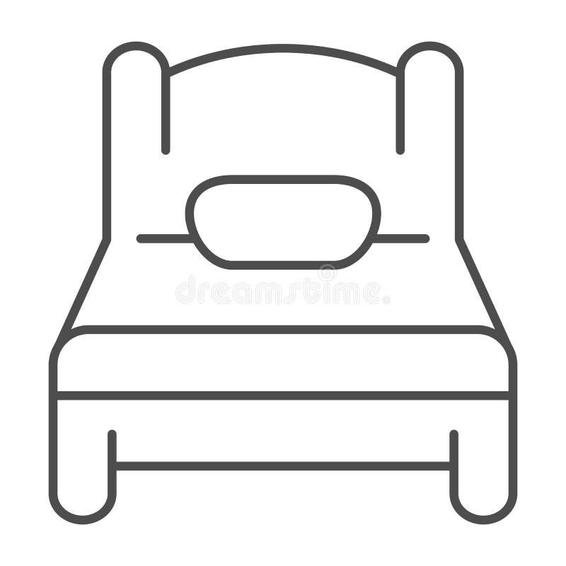 Línea fina icono de la sola cama Ejemplo del vector del sueño aislado en blanco Diseño del estilo del esquema del solo sitio, dis ilustración del vector