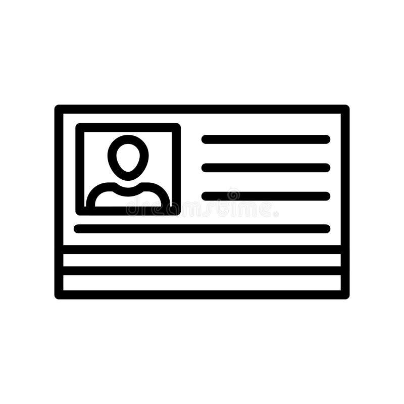 Línea fina icono de la tarjeta de la identificación del vector ilustración del vector