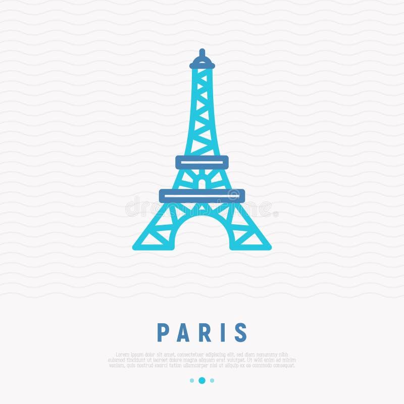 Línea fina icono de la torre Eiffel libre illustration