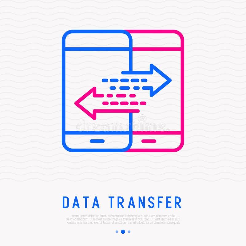 Línea fina icono de la transferencia de datos Ilustración del vector libre illustration