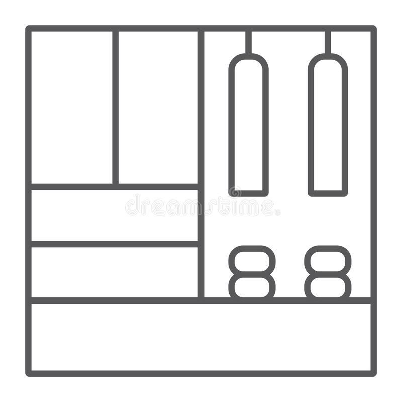 Línea fina icono de los muebles del vestíbulo, muebles y hogar, muestra del armario, gráficos de vector, un modelo linear libre illustration
