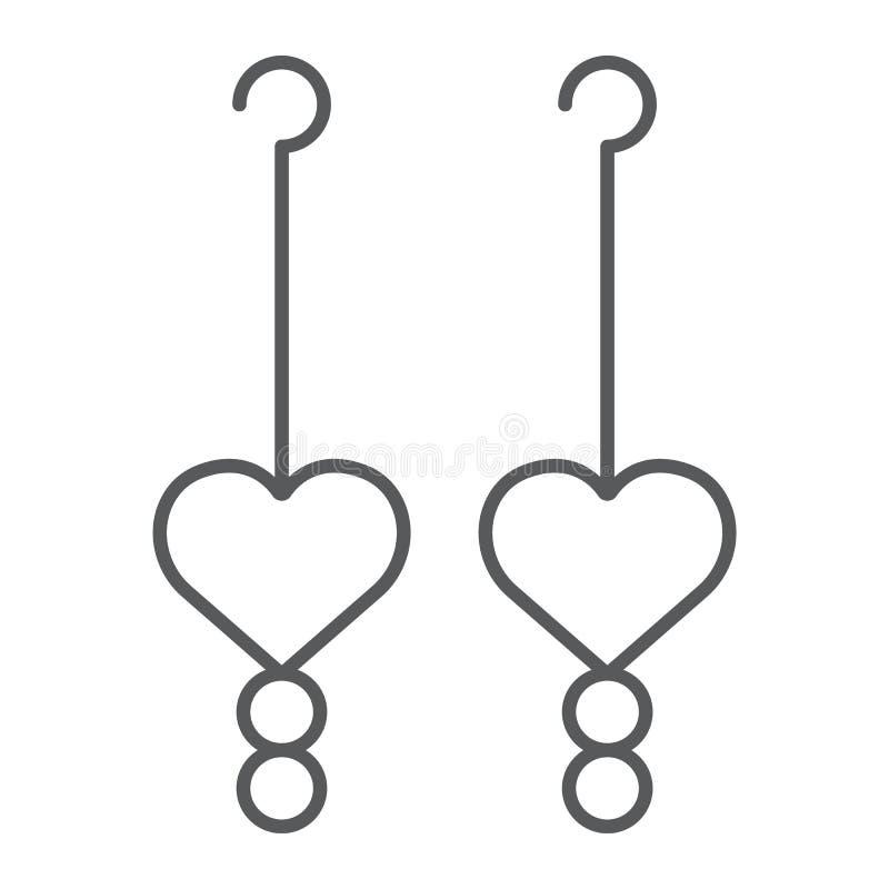 Línea fina icono de los pendientes del corazón, amor y joyería, muestra de la joya, gráficos de vector, un modelo linear en un fo libre illustration
