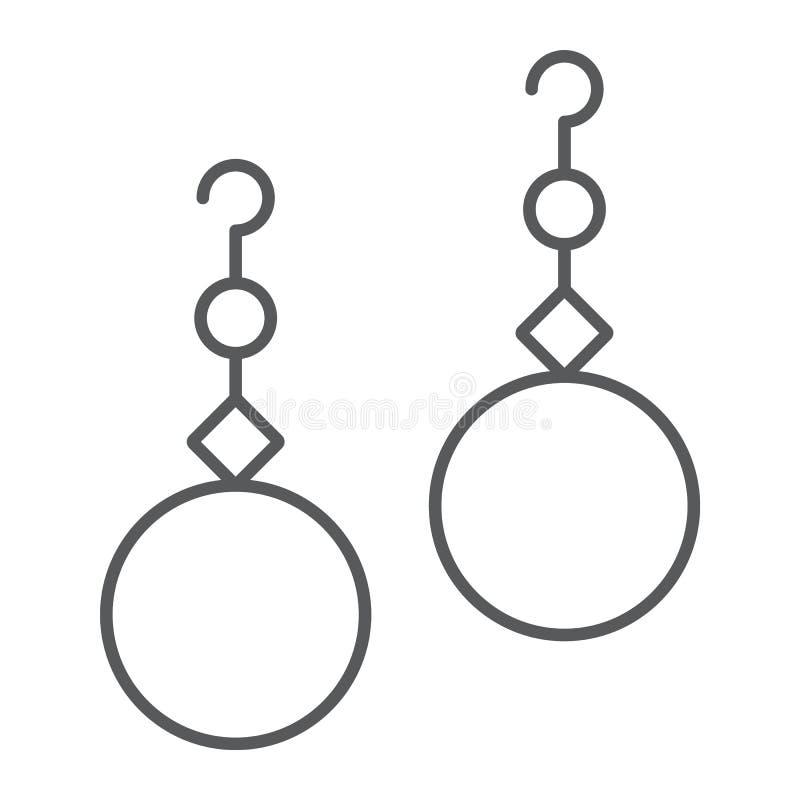 Línea fina icono de los pendientes de las perlas, joyería y accesorio, muestra de la joya del oído, gráficos de vector, un modelo libre illustration