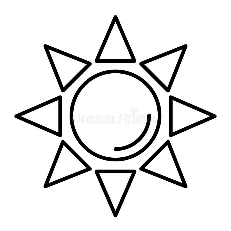 Línea fina icono de Sun Ejemplo brillante del vector del sol aislado en blanco Diseño del estilo del esquema de los rayos de sol, ilustración del vector