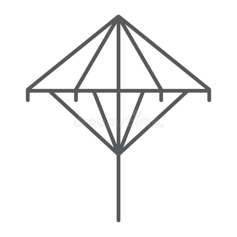 Línea fina icono de Wagasa, asiático y accesorios, muestra japonesa del paraguas, gráficos de vector, un modelo linear en un blan stock de ilustración