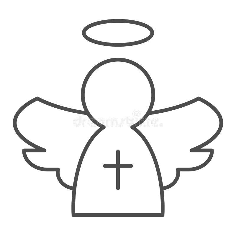 Línea fina icono del ángel Ejemplo del vector del juguete de la Navidad aislado en blanco Ángel con diseño cruzado del estilo del libre illustration