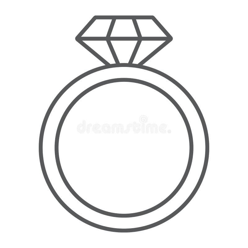 Línea fina icono del anillo de diamante, joyería y matrimonio, muestra brillante del anillo, gráficos de vector, un modelo linear ilustración del vector