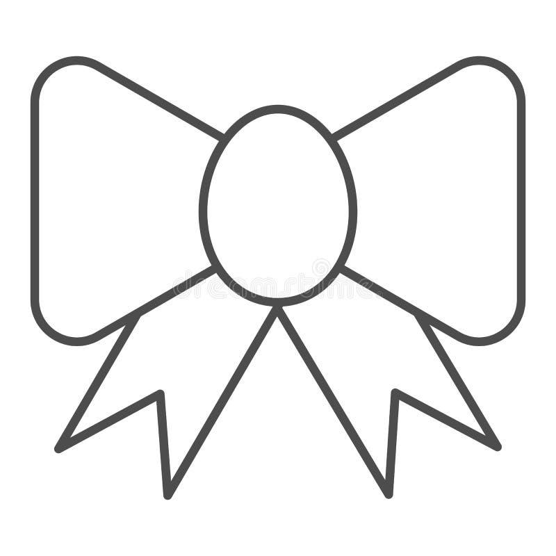 Línea fina icono del arco de la cinta Ejemplo festivo del vector de la decoración aislado en blanco Diseño de seda del estilo del libre illustration