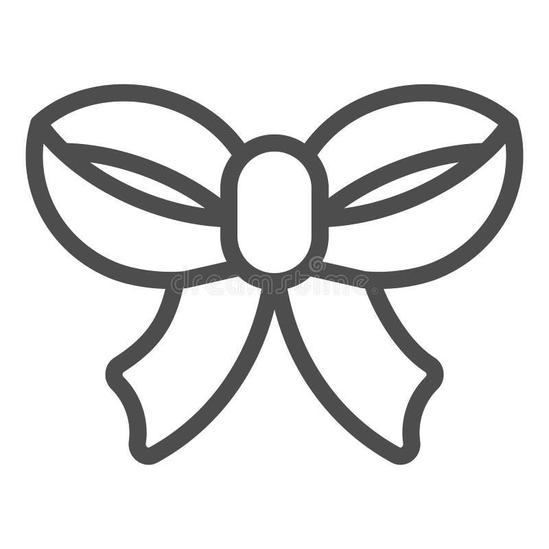Línea fina icono del arco Ejemplo del vector de la decoración del regalo aislado en blanco Diseño del estilo del esquema del nudo ilustración del vector