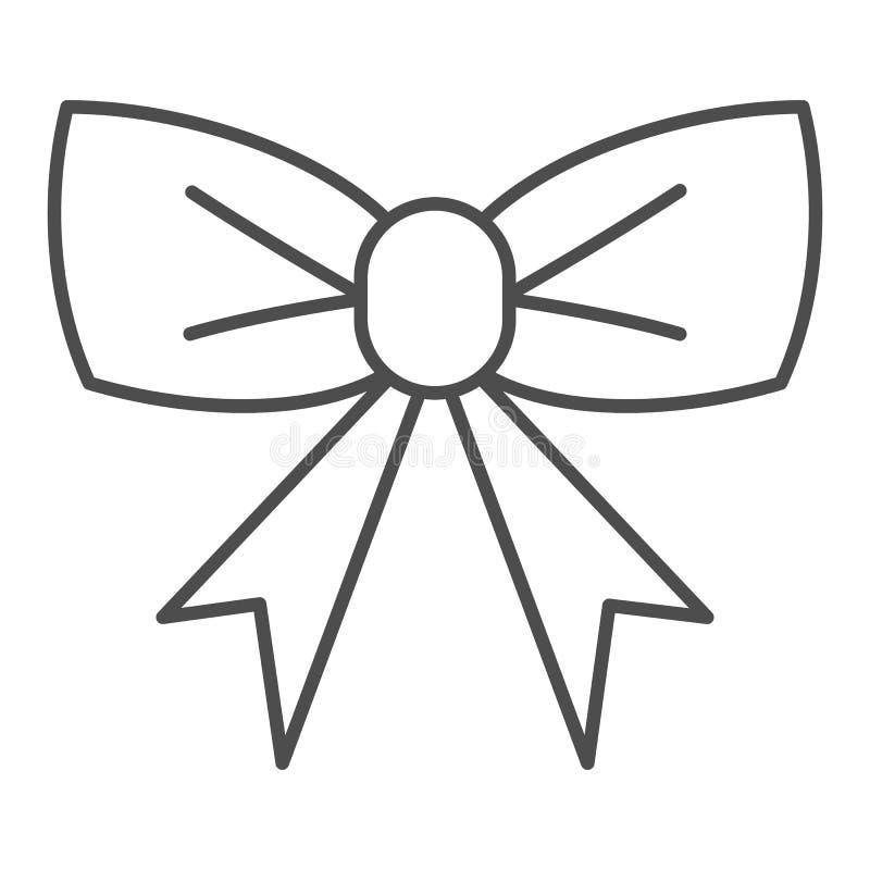 Línea fina icono del arco simple Ejemplo del vector de la decoración de la celebración aislado en blanco Diseño del estilo del es ilustración del vector