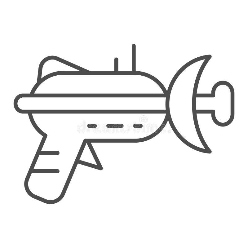 Línea fina icono del arenador Ejemplo del vector del arma de laser aislado en blanco Diseño del estilo del esquema del arma del e libre illustration