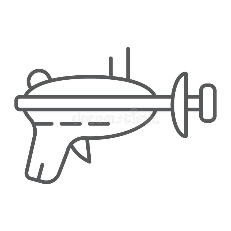 Línea fina icono del arenador, espacio y arma, muestra del arenador del laser, gráficos de vector, un modelo linear en un fondo b libre illustration