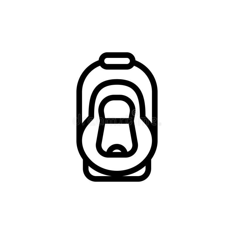 Línea fina icono del asiento de carro del bebé Pictograma simple del vector del esquema de la cuna del automóvil Butaca para la s ilustración del vector