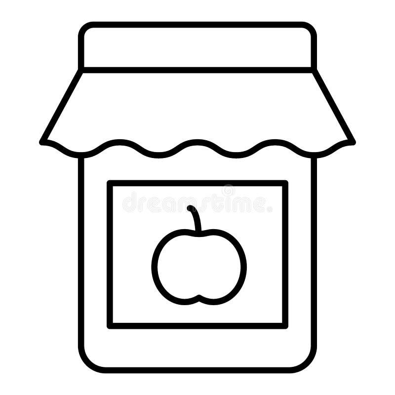 Línea fina icono del atasco de Apple Conserve el ejemplo del vector aislado en blanco Diseño del estilo del esquema del tarro del stock de ilustración