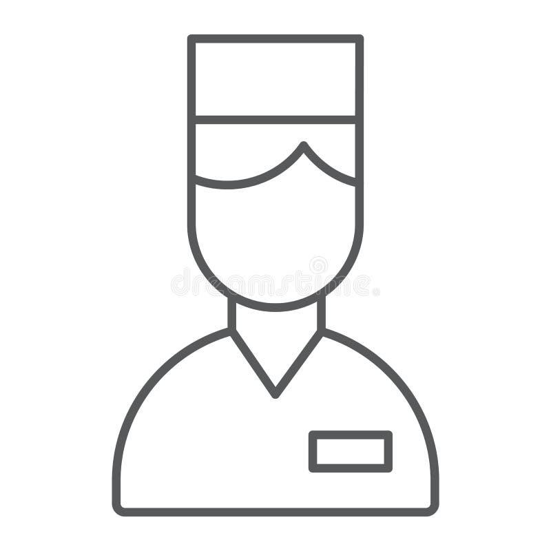 Línea fina icono del ayudante de cámara, hotel y servicio, muestra del portero, gráficos de vector, un modelo linear en un fondo  libre illustration