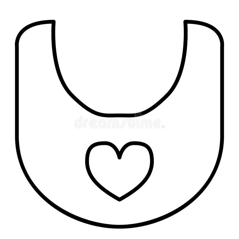 Línea fina icono del babero Ejemplo del vector del babero del bebé aislado en blanco Diseño del estilo del esquema de la ropa, di stock de ilustración