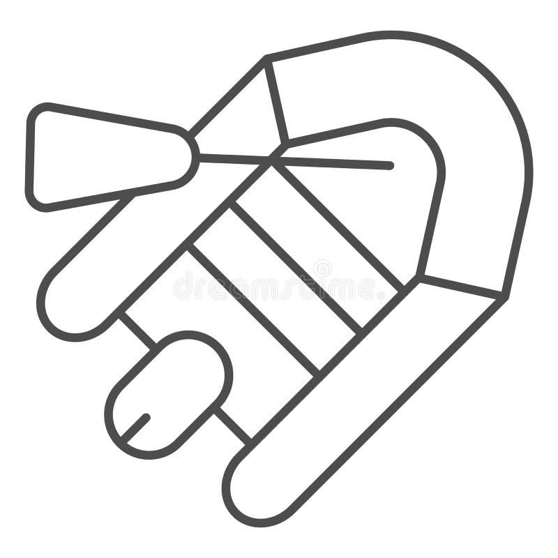 Línea fina icono del barco inflable Ejemplo del bote y de la paleta aislado en blanco Diseño de goma del estilo del esquema del b libre illustration