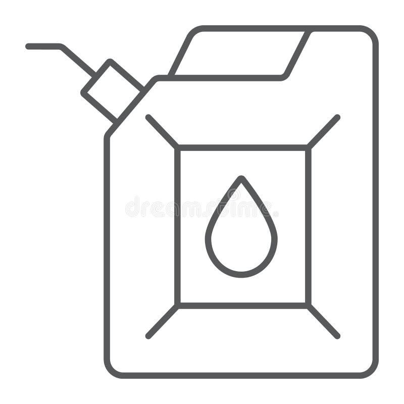 Línea fina icono del bidón, bote y envase, muestra del depósito de gasolina, gráficos de vector, un modelo linear en un fondo bla stock de ilustración
