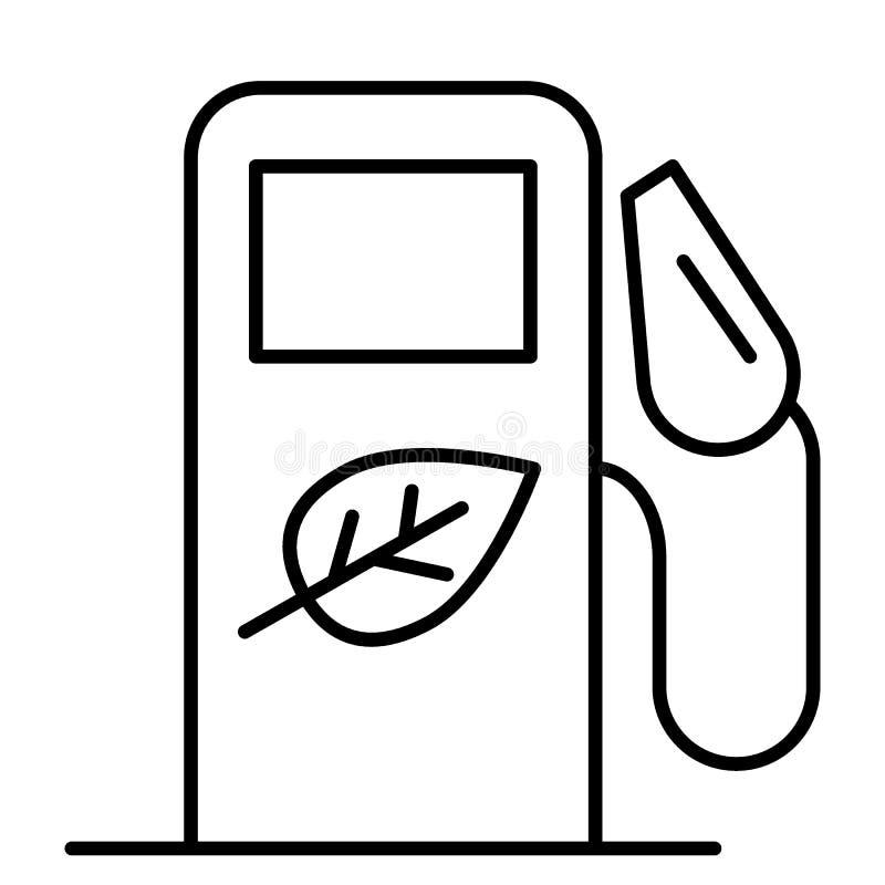 Línea fina icono del bio combustible Bio ejemplo del vector de la gasolinera aislado en blanco Bio diseño del estilo del esquema  libre illustration