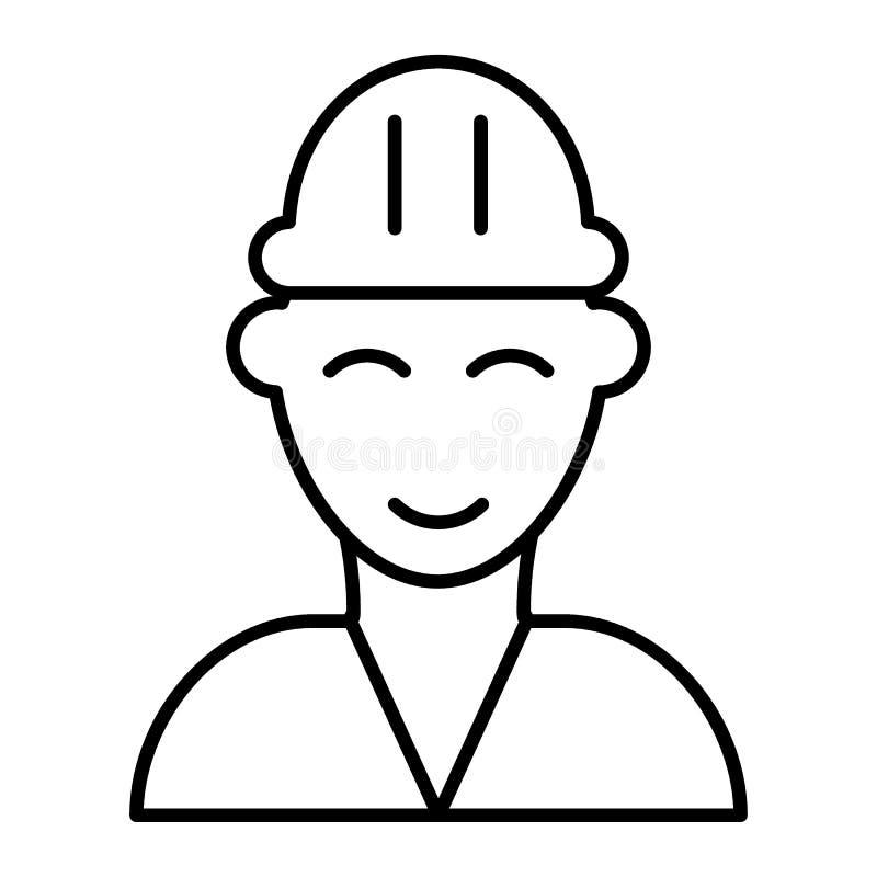 Línea fina icono del bombero Ejemplo del vector del constructor aislado en blanco Diseño del estilo del esquema del bombero, dise stock de ilustración
