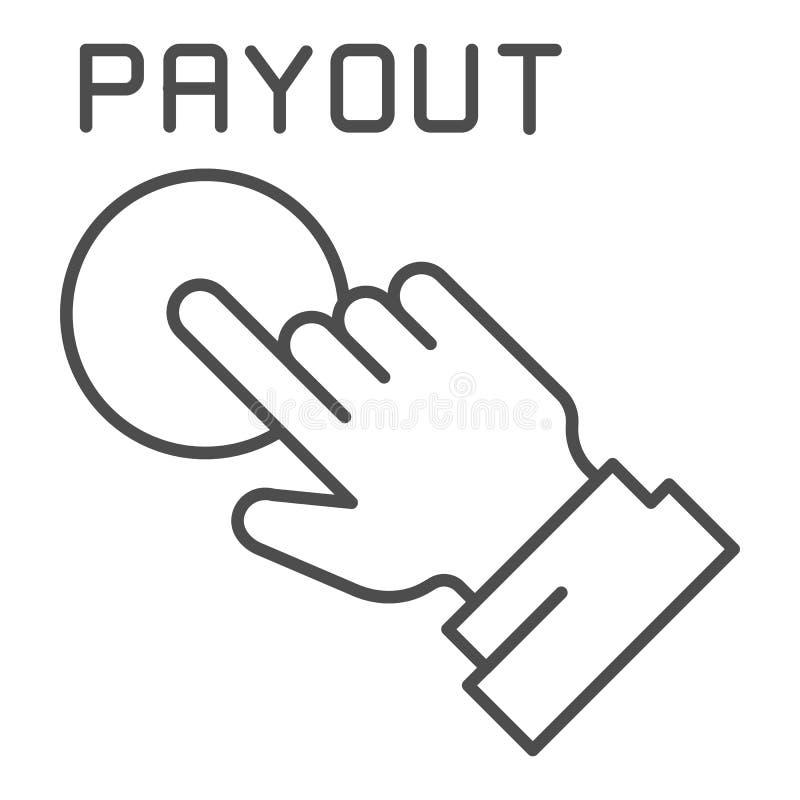 Línea fina icono del botón del desembolso Ejemplo del vector de la mano y del botón de la paga aislado en blanco Diseño del estil libre illustration