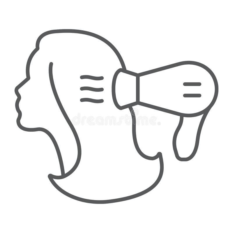 Línea fina icono del brushing, peluquero y blowdryer, una muestra más seca de pelo, gráficos de vector, un modelo linear en un bl libre illustration