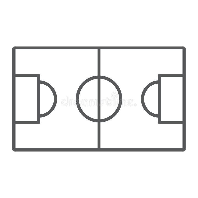 Línea fina icono del campo de fútbol, deporte y fútbol, muestra del estadio, gráficos de vector, un modelo linear en un fondo bla libre illustration