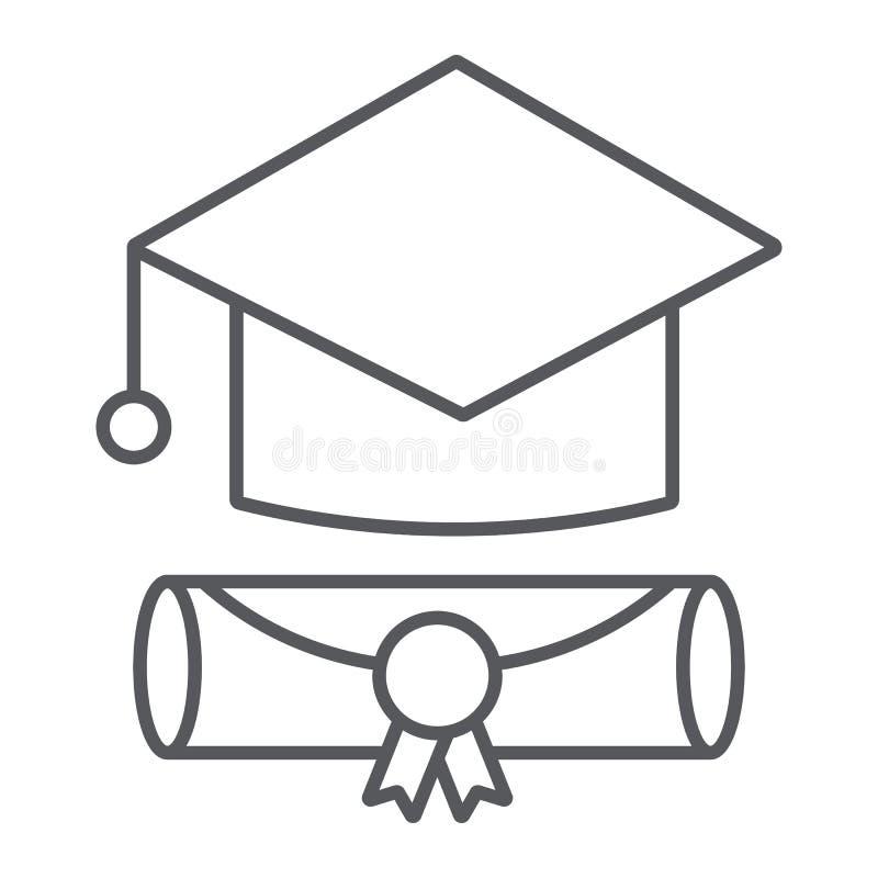 Línea fina icono del casquillo de la graduación, graduado y conocimiento, muestra académica del sombrero, gráficos de vector, un  stock de ilustración