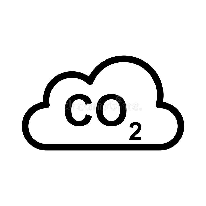 L?nea fina icono del CO2 de la nube del vector ilustración del vector