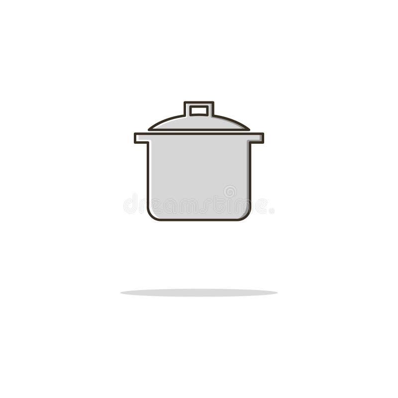 Línea fina icono del color del cazo Ilustración del vector fotos de archivo