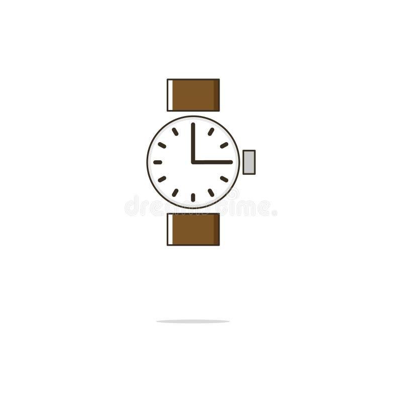 Línea fina icono del color del reloj Ilustración del vector imagen de archivo