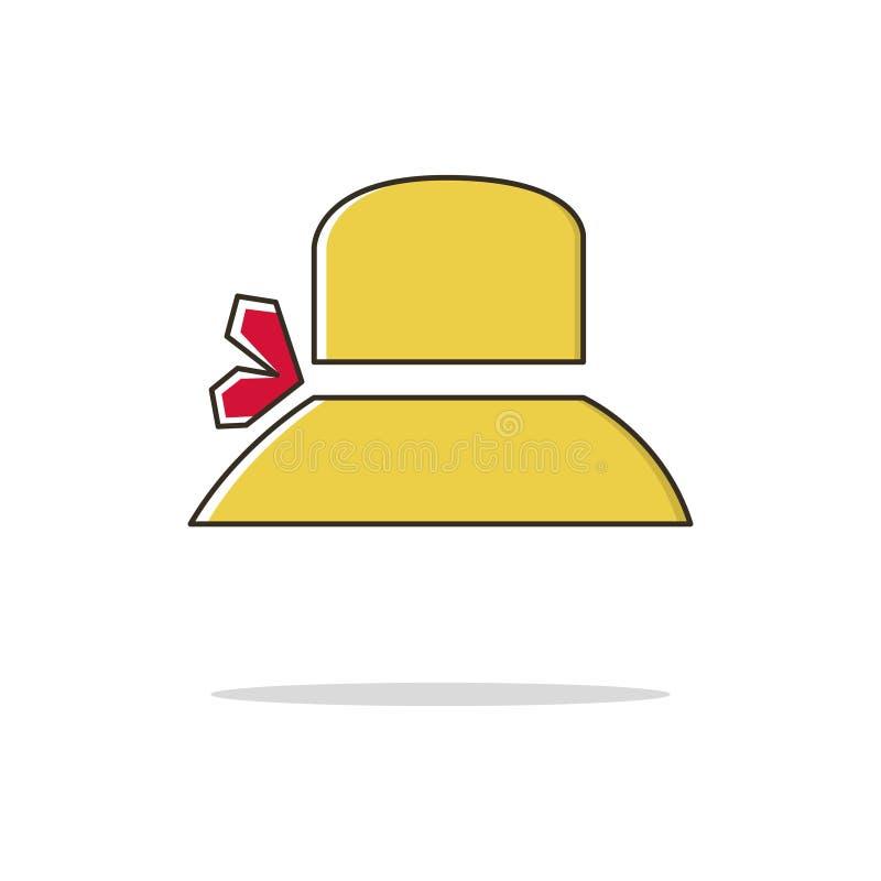 Línea fina icono del color del sombrero de las mujeres Ilustración del vector foto de archivo libre de regalías