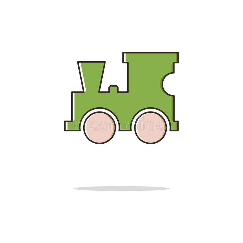 Línea fina icono del color locomotor del juguete Ilustración del vector fotos de archivo