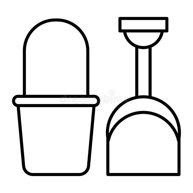 Línea fina icono del cubo y de la pala La playa juega el ejemplo del vector aislado en blanco Estilo del esquema del cubo y de la stock de ilustración