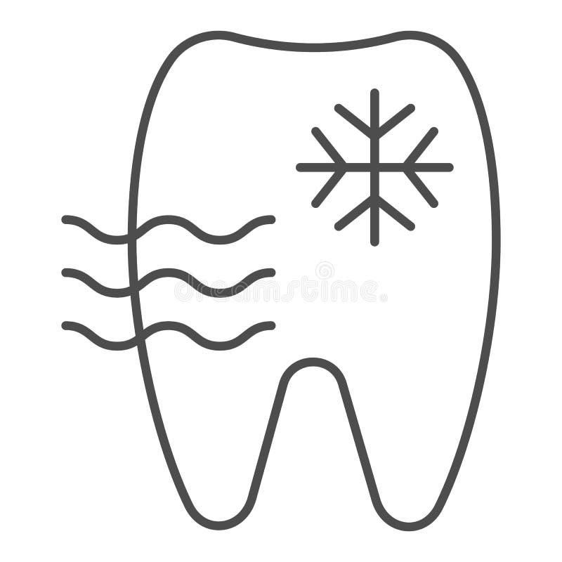 Línea fina icono del diente sensible Ejemplo del vector del diente y del copo de nieve aislado en blanco Diseño del estilo del es libre illustration