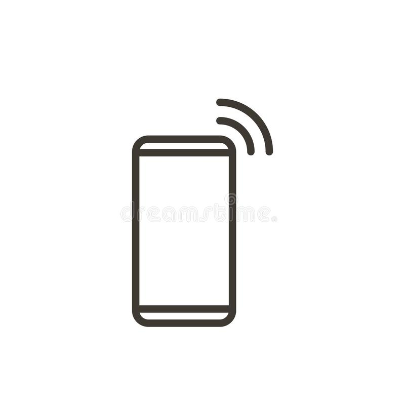 Línea fina icono del dispositivo de Smartphone Ejemplo para el teléfono móvil, llamadas del vector, recibiendo el mensaje o corre libre illustration
