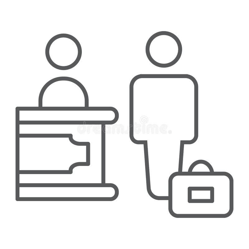 Línea fina icono del enregistramiento, hotel y servicio, muestra de la recepción, gráficos de vector, un modelo linear en un fond ilustración del vector
