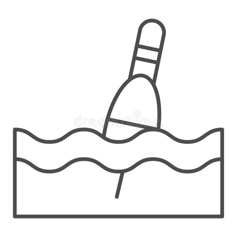 Línea fina icono del flotador Ejemplo del vector del Bobber aislado en blanco Diseño del estilo del esquema que pesca con caña, d ilustración del vector
