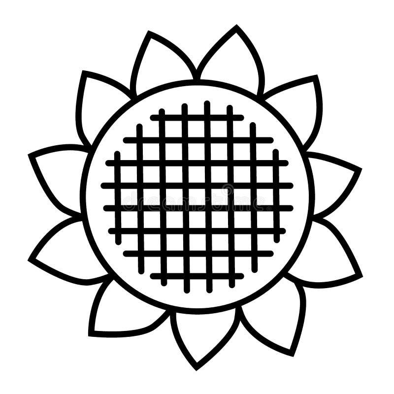 Línea fina icono del girasol Ejemplo del vector de la planta aislado en blanco Diseño del estilo del esquema de la flor, diseñado stock de ilustración