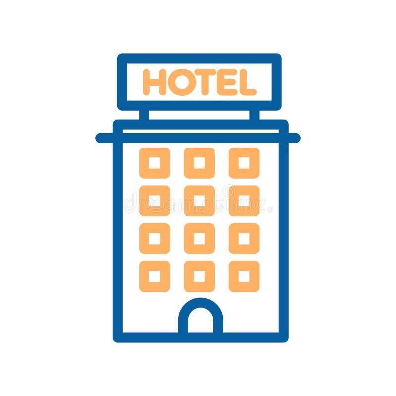 Línea fina icono del hotel Construyendo, propiedades inmobiliarias, motel, apartamentos del turismo ilustración del vector