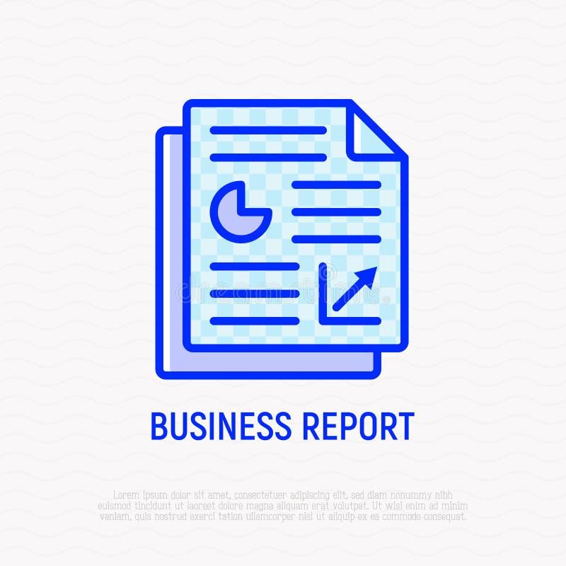 Línea fina icono del informe de negocios ilustración del vector