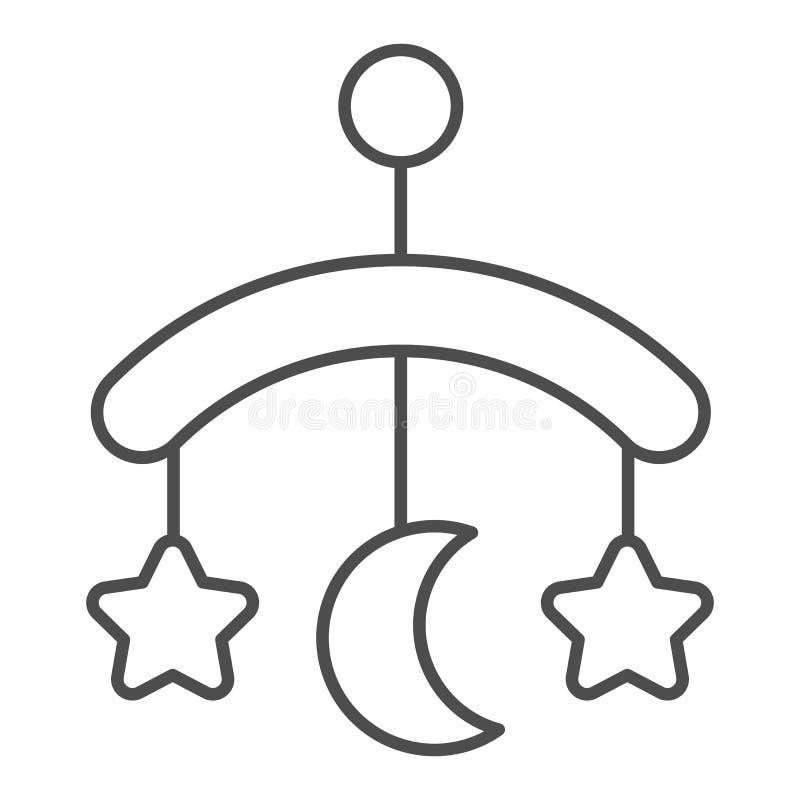 Línea fina icono del juguete del pesebre del bebé Ejemplo colgante del vector del juguete aislado en blanco Dise?o del estilo del libre illustration