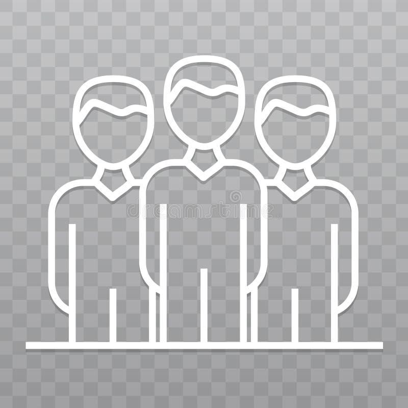 Línea fina icono del líder de equipo Icono de la conferencia en fondo transparente ilustración del vector