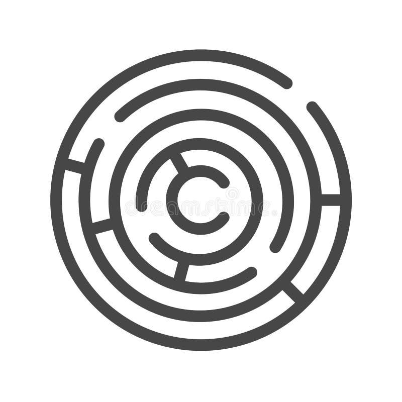 Línea fina icono del laberinto del vector ilustración del vector