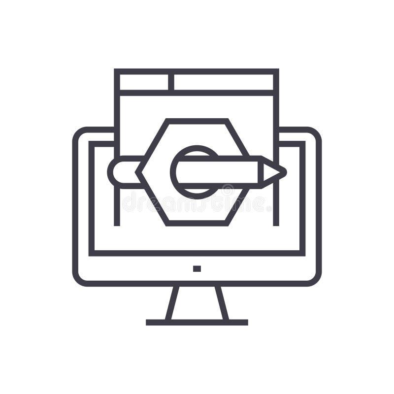 Línea fina icono del márketing del vector contento del concepto ilustración del vector