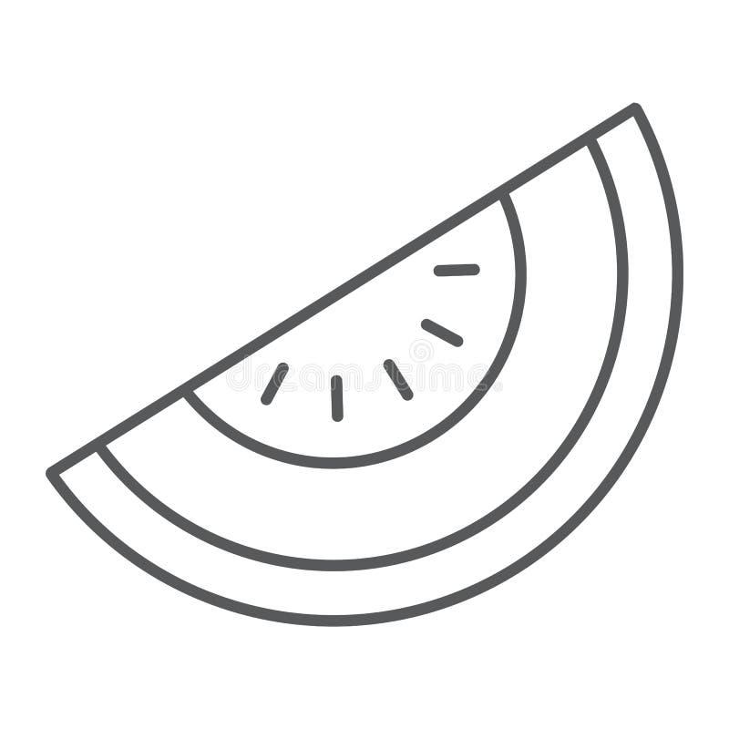 Línea fina icono del melón, fruta y vitamina, muestra de la dieta ilustración del vector
