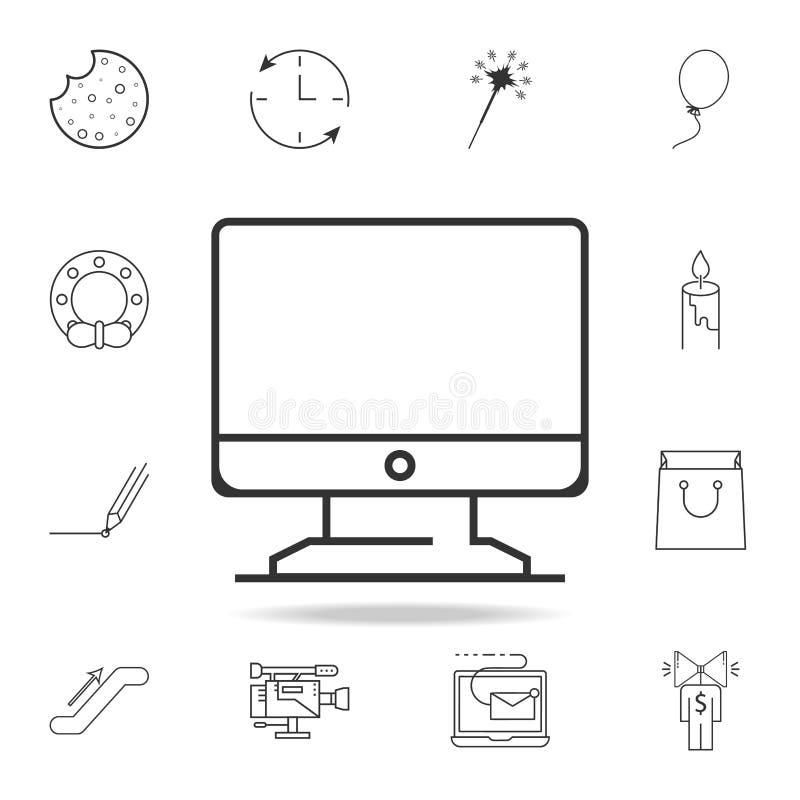 Línea fina icono del monitor de computadora Sistema detallado de iconos y de muestras del web Diseño gráfico superior Uno de los  stock de ilustración